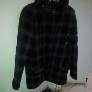 Jacket Baffy 灰黑色格仔連帽外套