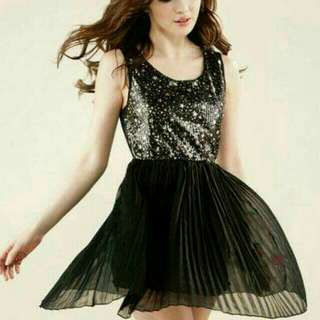 Korean Black Chiffon Shimmering Dress
