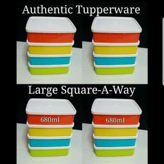 Authentic Tupperware  Large Square-A-Way 680ml 15.5cm(L) x 14.5cm(W) x 4.5(H)   《Retail price S$9.30/Piece》 each