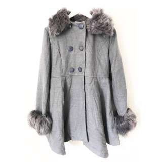 Gray Furry Trench Coat (removable fur)