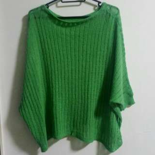 knit green batwing throwover