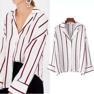 (XS~L) European fashion lapel red striped loose wild long-sleeved shirt ladies shirt
