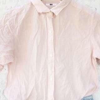 Uniqlo Checkered Pink Top