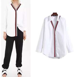 European fashion women's white rib poplin stitching shirt blouse