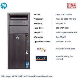 HP Z420 Tower Workstation Xeon E5-1620 #3.6Ghz 16GB RAM 1TB HDD Quadro 600 1GB