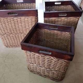 Rattan Basket 3 sizes (3 pcs set)