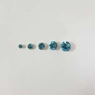 Light Blue Turqoise Round Diamond Studs
