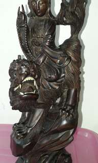 Unblessed Vintage Guan Yin Hand Wood Carving,more than 20years.