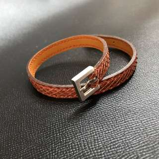 Hand-stitched Python leather bracelet