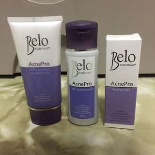 Belo AcnePro Bundle: Gel Face Wash, Treatment Toner, & Pimple Gel (with FREE Cosrx Sample)