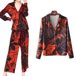 European women lapel orange long sleeve printed shirt blouse