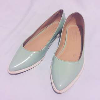 TOPSHOP Pointed Leather Pastel Flats