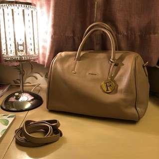 Furla Beige Grainy Leather Satchel Bag