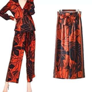 European women's high waist belt orange wide leg pants casual pants