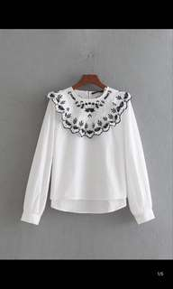 Europe and the United States loose was thin lady collar embroidery lotus leaf decorative shirt