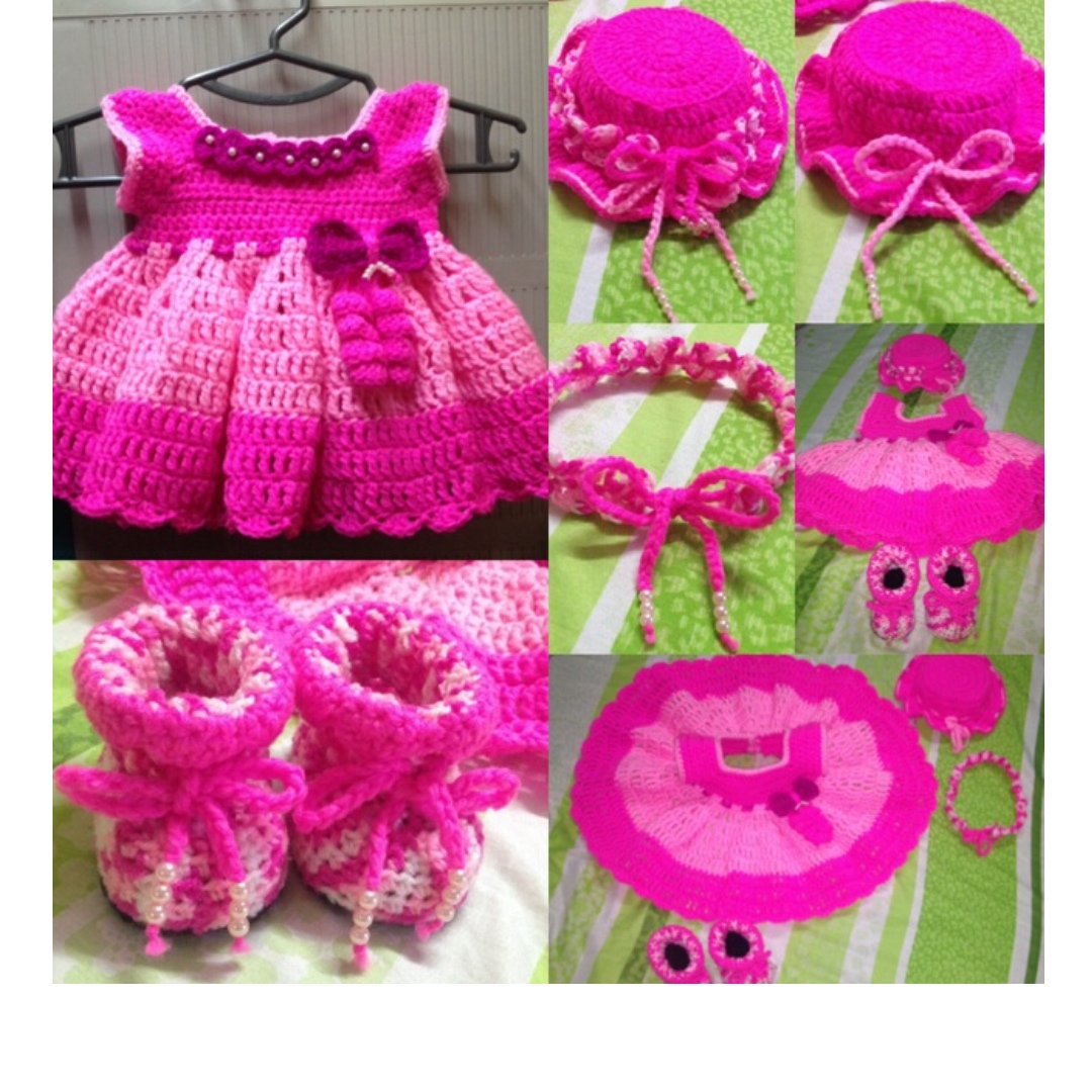 29b8fae4a407 1 set Crochet Baby dress fr new born to 3months old