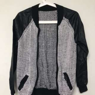 Knitted Leather Jacket for Girls