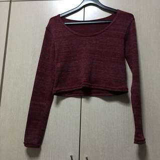 Long Sleeve maroon knitted Crop Top-Pending PT