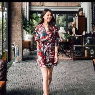 Flora V neck kimono wrap dress with sash