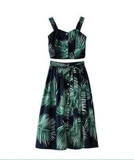 Hawaiian Crop Top and Skirt w/ Belt