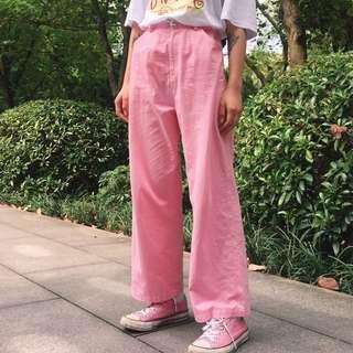 🚚 復古粉色寬褲落地褲直筒褲牛仔粉 卡其褲