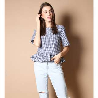 TSW PENELOPE PLAID TOP IN NAVY - Size M