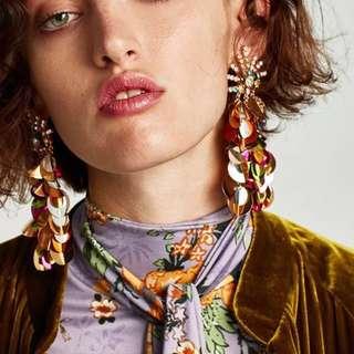(More cols) Zara inspired cluster beaded drop earrings