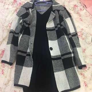 🚚 🅱️✨格紋針織長外套