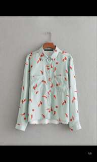 Europe and the United States new loose thin lapel long sleeve chiffon printed shirt