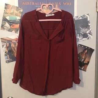 紅色雪紡襯衫
