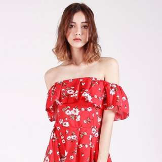 Red Off Shoulder Floral Romper Playsuit!