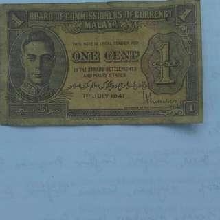 Malaya Freak One Cent Note