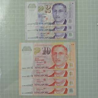 $2 & $10 polymer radar & nice fancy serial number singapore