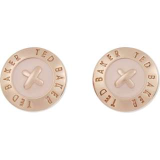 (兩色)TED BAKER Eisley enamel mini button earrings