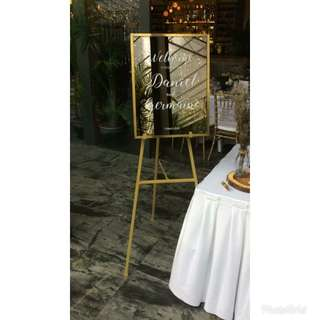 Wedding mirror signage + stand ( for rent )