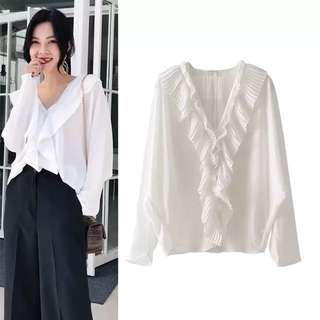 European and American style spring and summer of 2018 new V-neck solid color white pleated flounced shirt blouse