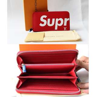 LV Supreme Zippy Red Wallet