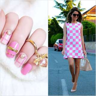 Summer candy colours fake nails 24 pieces