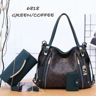Coach 3 in 1 Handbag Green/Coffee Color