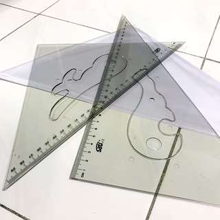 30cm Set Square with French Curves