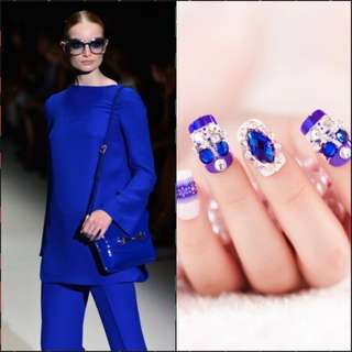 foreverlily Ceramics 3D Fake Nails Wedding Nail Art Supply Sapphire Rhinestones with Blue-and-white Porcelain Sculpt Blue