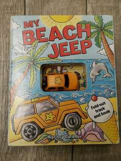 Hard cover my beach jeep book with wind up jeep