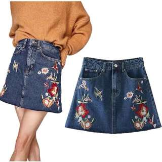 🌸 European fashion women's denim embroidery skirt skirt A skirts skirts🌸