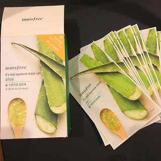 20 sheets - Innisfree Real Squeeze Masks - Aloe