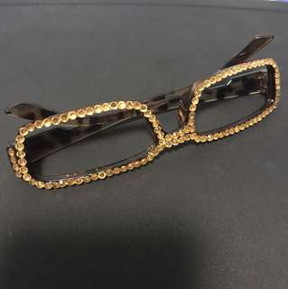 BN fashion glasses empty lens studded frame