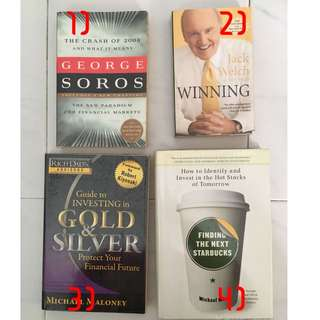 Books: Jacl Welch, George Soros, think and grow rich, stephen r. covey, daniel goleman, Finding the Next Starbucks, Guide to investing in gold & silver,