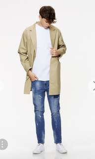 Single Breasted Longline Trench Coat with Spread Collar