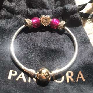 Pandora Bangle with gold elements, size 17