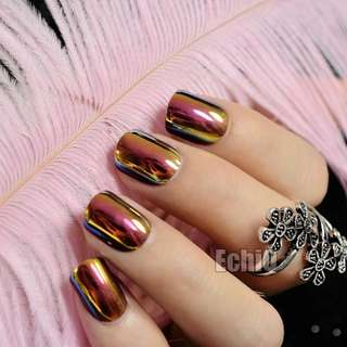 Chrome Holographic Fake Nails Chameleon Mirror Red Gold False Nails Short Full Wrap DIY Nail Tips with Glue Stiker Z719