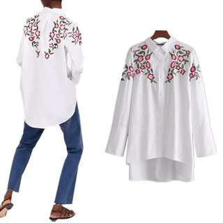 Europe long short before the long embroidery flower shirt